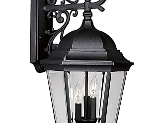PROGRESS P5690-31 Three-light wall lantern in Textured Black finish with clear beveled glass