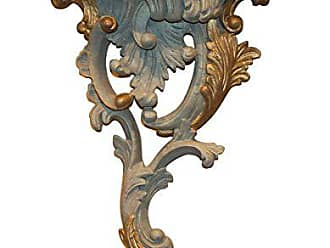 Hickory Manor House Right Renaissance Bracket Decor, Aged Blue/Gold