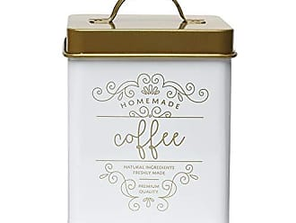 Amici Home Amici Home Harper Gold Metal Canister, Square Decorative Metal Storage Container with Painted Emblem, 50 Ounce Capacity (Coffee)