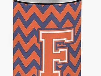 Caroline's Treasures CJ1042-FCC Letter F Chevron Orange and Blue Can or Bottle Hugger, Multicolor