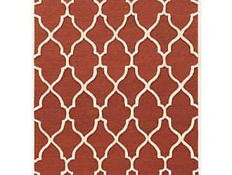 Linon Linon Trio Geo with Off-White Silk Natural Fiber Rugs, 5 x 7, Red