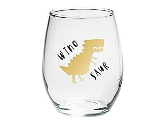 Clear Stemless Wine Glass - Kate Aspen Give Thanks 15 oz Set of 4