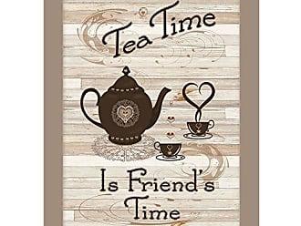 Trendy Decor 4 U Trendy Decor4U Tea Time by Millwork Engineering, Ready to Hang, Taupe Framed Prints earthtone
