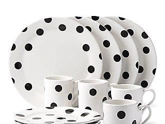Kate Spade New York Deco Dot 12 Piece Dinnerware Set, Black/White