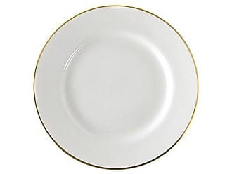 10 Strawberry Street Gold Line 9.125 Luncheon Plate, Set of 6, White/Gold
