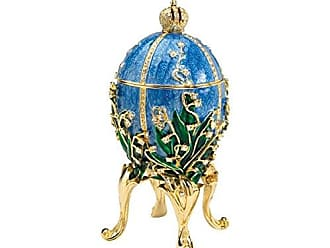 Design Toscano Empress Valentina Romanov Style Collectible Enameled Egg, 6 Inch, Pewter, Blue
