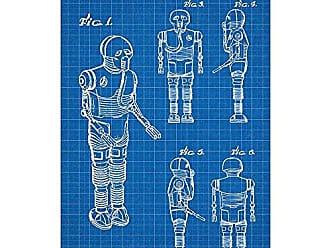 Inked and Screened SP_SYFI_268,941_BG_17_W Star Wars Characters: 2-1B Print, 11 x 17, Blue Grid-White Ink