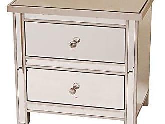 Heather Ann Creations Handcrafted Modern 2 Drawer Storage Nightstand Chest in Beveled Mirrored Finish, 23 x 16 x 22