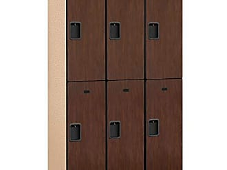 Salsbury Industries 2-Tier Extra Wide Designer Wood Locker with Three Wide Storage Units, 6-Feet High by 18-Inch Deep, Mahogany