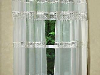 Violet Linen 3 Piece Treasure Macrame Lace Design Sheer Kitchen Curtain Set, Beige