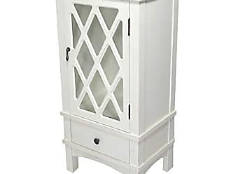 Heather Ann Creations The Cottage Collection Modern Style Wooden Living Room Single Door and Drawer Accent Cabinet with Glass Lattice Inserts, Antique White