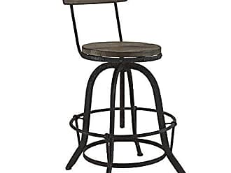 ModWay Modway Procure Modern Farmhouse Pine Wood and Iron Metal Adjustable Height Swivel Bar Stool in Brown