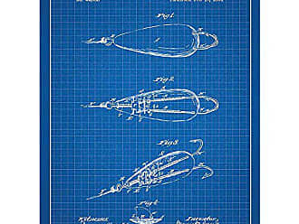 Inked and Screened SP_OUTG_44,682_BG_24_W Outdoor Gear Fish Hook-M. Cass Jr. -1891 Print, Blue Grid-White Ink, 18 x 24