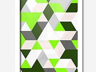 Los Quadros Quadro Decorativo Geométrico Verde 45 x 33 cm Los Quadros Branco