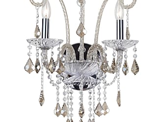 Crystorama Simone Collection Wall Sconce in Polished Chrome w/Cognac Hand Cut Crystal and Cognac Glass Shades