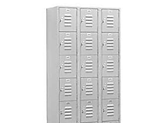 Salsbury Industries Assembled 5-Tier Box Style Standard Metal Locker with Three Wide Storage Units, 5-Feet High by 15-Inch Deep, Gray