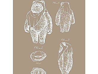Inked and Screened Sci-Fi and Fantasy Star Wars Characters: Ewok Wicket Print, Kraft - White Ink