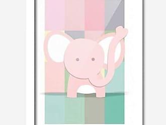 Los Quadros Quadro Decorativo Elefantinho Rosa Baby 33cmx24cm Los Quadros Branco
