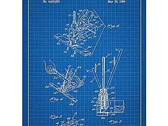 Inked and Screened SP_KITC_4,450,653_BG_24_W Knife Sharpener Print, 18 x 24, Blue Grid-White Ink