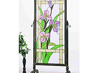Meyda Meadow Beauty Glass and Metal Panel Screen, 29 Width x 68 Height