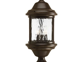 PROGRESS Ashmore Antique Bronze 3-Lt. post lantern with Water seeded glass curved panels