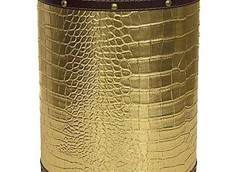 Oriental Furniture ORIENTAL Furniture Gold Faux Leather Waste Basket