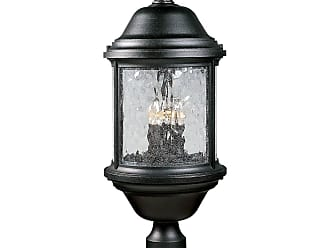 PROGRESS P5450-31 Three-light post lantern in Textured Black finish with water seeded glass