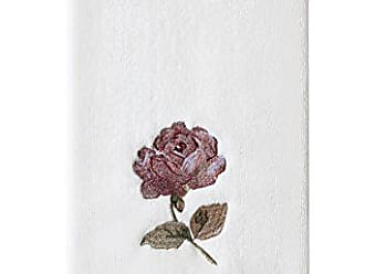 Five Queens Court Rosalind Country Chic Floral Embroidered Crochet Trim Hand Towel, Pink Rose