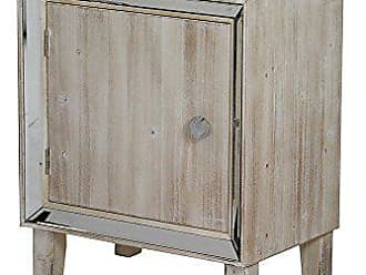 Heather Ann Creations Bon Marche Series Hand Finished 1 Door Small Space Saving Wooden Cabinet with Mirrored Trim, Whitewash
