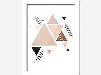 Los Quadros Quadro Decorativo Vários Triângulos Rosa 33cmx24cm Los Quadros Branco
