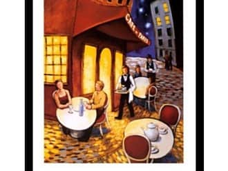 Buyartforless Buyartforless Framed Cafe de Paris by David Morocco 22x28 Art Print Poster French Cafe Outside Dining Abstract Painting Colorful