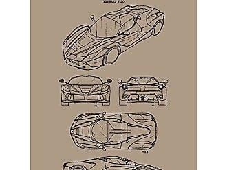 Inked and Screened SP_AUTO_710,259_KR_24_K Automobiles Et Al Ferrari S.P.A Enzo-A. Baccino-2013 Print, 18 x 24 Kraft - Black Ink