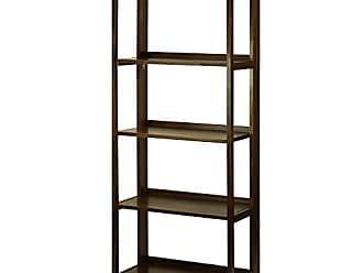 Yu Shan Casual Home 337-54 Stratford 5-Shelf Folding Bookcase-Warm Brown