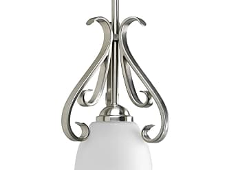 PROGRESS P5153-09 One-light mini-pendant in Brushed Nickel finish with etched white glass