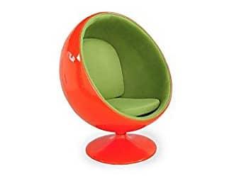 Kardiel Modern Ball Chair, Orange Fiberglass, Green