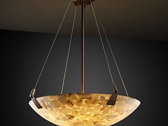 Justice Design Alabaster Rocks ALR-9641-35 21 in. Round Pendant Bowl with Tapered Clips - ALR-9641-35-DBRZ