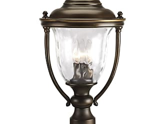 PROGRESS P5484-108 Three-light post lantern in Oil Rubbed Bronze finish with clear hammer optic glass