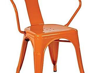 Office Star OSP Designs PTR2830A4-18 Metal Chair, 4 Pack, Orange, 30