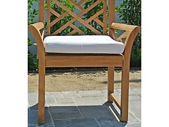 Willow Creek Designs Outdoor Willow Creek Designs Monterey Teak Dining Arm Chair with Sunbrella Cushion Canvas Heather Beige - WC-11-5422