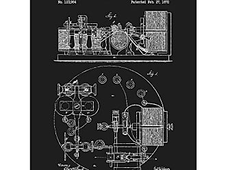 Inked and Screened SP_Vint_123,984_BL_24_W Vintage Inventions Telegraph Apparatus Print, Black Licorice-White Ink, 18 x 24