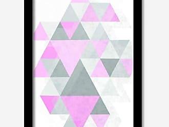 Los Quadros Quadro Decorativo Geométrico Rosa 45 x 33 cm Los Quadros Preto