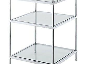 Convenience Concepts Royal Crest Collection End Table, Chrome/Glass