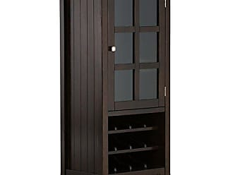 Simpli Home Simpli Home AXWELL3-009 Acadian 12-Bottle Solid Wood 24 inch wide Rustic High Storage Wine Rack Cabinet in Tobacco Brown