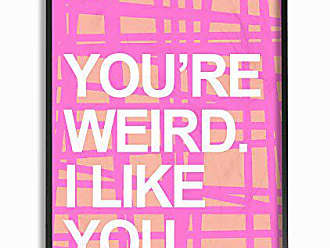 Stupell Industries Stupell Home Décor lulusimonSTUDIO Youre Weird. I Like You Pink and Orange Grid Oversized Framed Giclee Texturized Art, 16 x 1.5 x 20, Proudly Made in USA