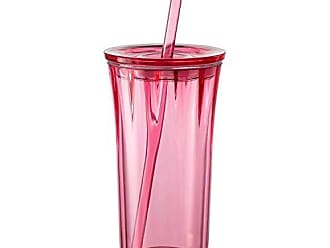 Zak designs Clarion 20oz Double Wall Straw Tumbler - keeps drinks cold and prevents condensation, Berry Clear