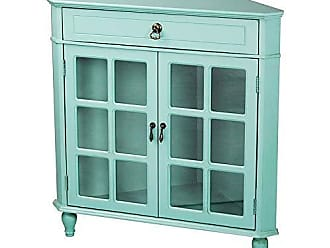 Heather Ann Creations Modern 2 Door Corner Cabinet with Drawer with 6 Pane Glass Insert Turquoise