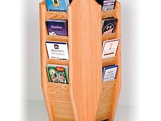 Wooden Mallet Cascade Spinning Countertop Display with 16-Brochure Pockets, Light Oak