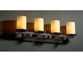 Justice Design Group CNDL-8774 - Dakota 4 Light Straight - Bar Bath Bar - Cylinder with Flat Rim Shade - Amber Shade - CNDL-8774-10-AMBR-DBRZ