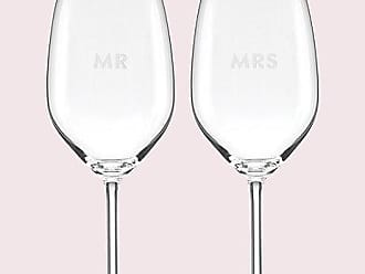 Kate Spade New York Set Of 2 Darling Point Mr. And Mrs. Wine Glasses, Clear
