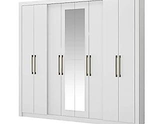 Carraro Móveis Guarda Roupa Casal Héster Com Espelho 8 Portas Branco Carraro